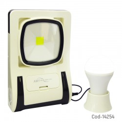 Kit Solar Portatil 1 LED COB+Linterna+1 Ampolleta, USB+Cable 4 Puntas.