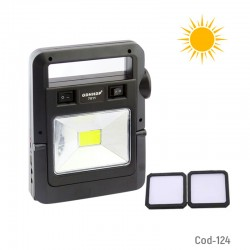 Kit Solar Portatil, 1 LED COB+Linterna+2 Focos LED, USB, Cable 4 Puntas.